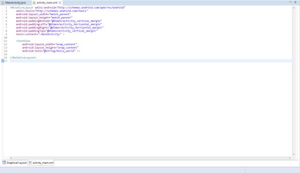 Tab Fragment Tutorial - Initial Main Activity Layout XML