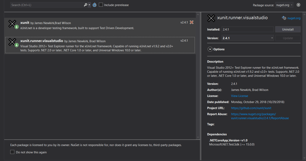 Nuget package management for project in visual studio showing required xUnit packages.