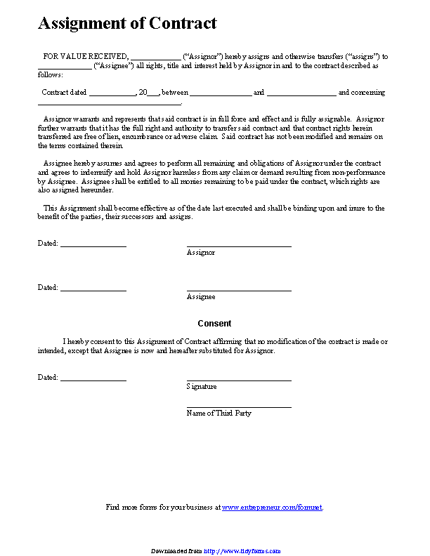 Assignment Of Contract Pdfsimpli