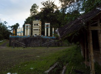 Resting area and view point at Tomohon (Sulawesi, Indonesia): towers, huts, owl, plaza, steps