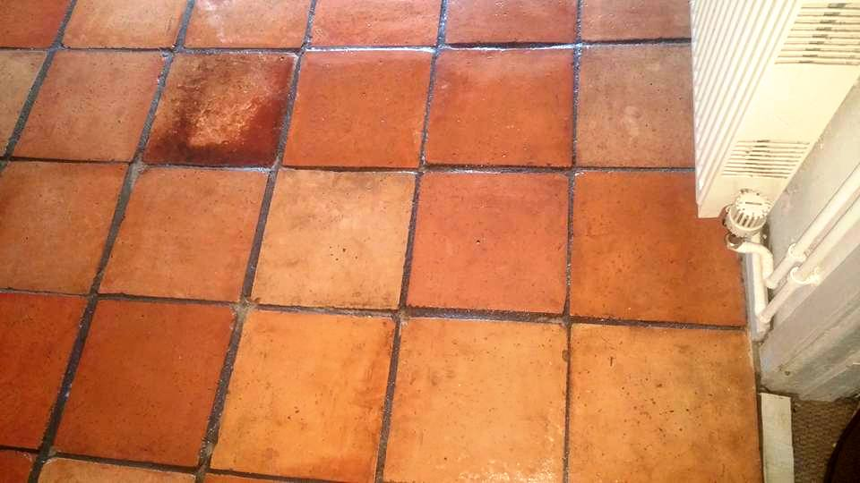 Terracotta Tiled Floor in Lympstone After Cleaning