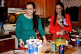My sister and I getting ready to serve the cake