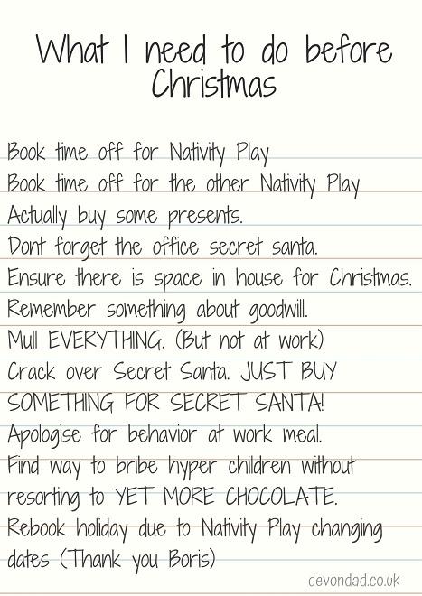 Devon Dad - Christmas To Do List