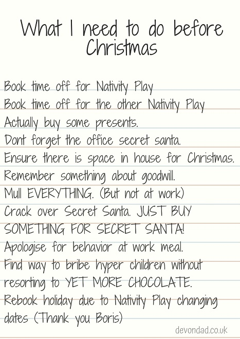 Devon Dad - Christmas To Do List