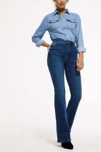 Blue-Denim-Skinny-Fit-Flared-Jeans-2