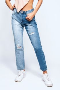 Blue-Two-Tine-High-Rise-Ripped-Mom-Jeans