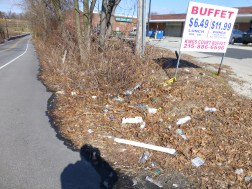 Limekiln Pike Entrance to Cheltanham Plaza - litter can easily flow to Upper Rock Creek
