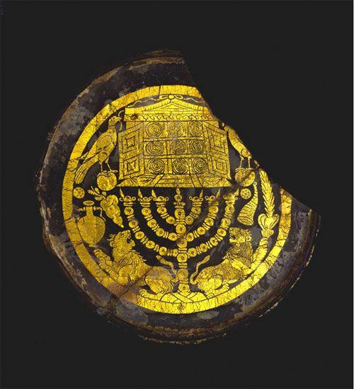 MENORAH ROMAN GOLD GLASS ROME 3RD C