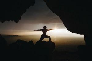 mountain yoga sunset