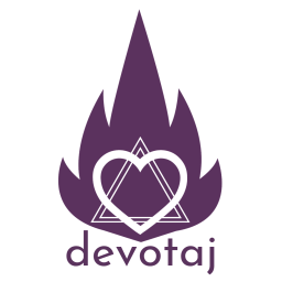 Devotaj Sacred Arts Logo: Flame with Heart Star