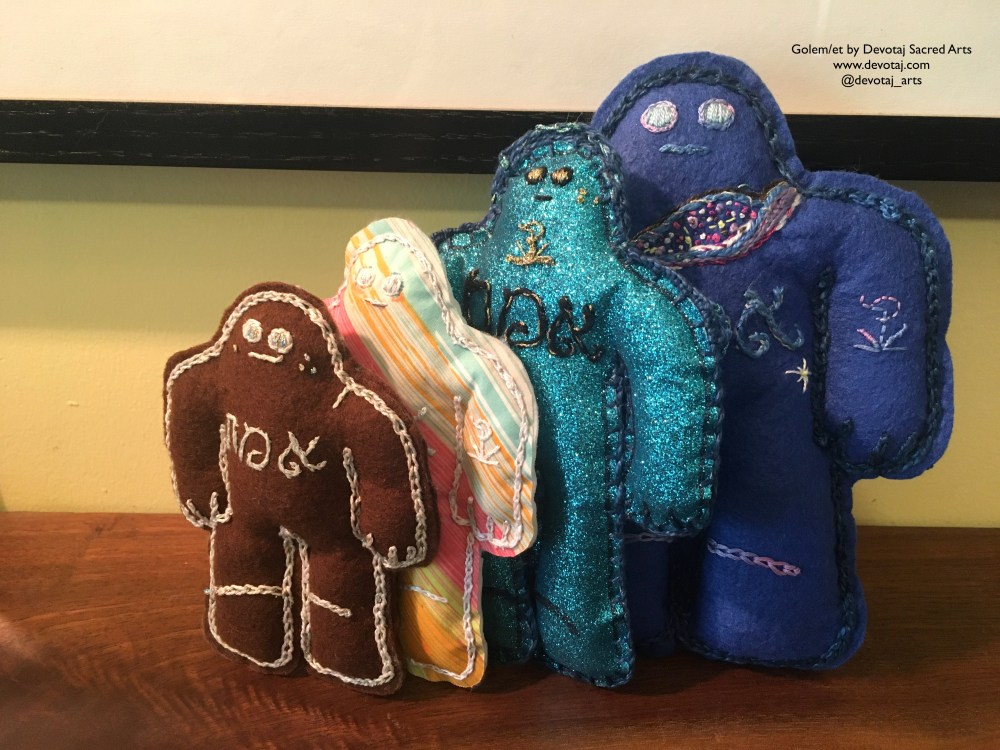 Line up of 4 golem/et from second minyan