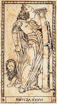 Mategna Tarot Strength Card (Av) depicting a woman in lion themed armor holding a broken pillar and a lion at her feet.