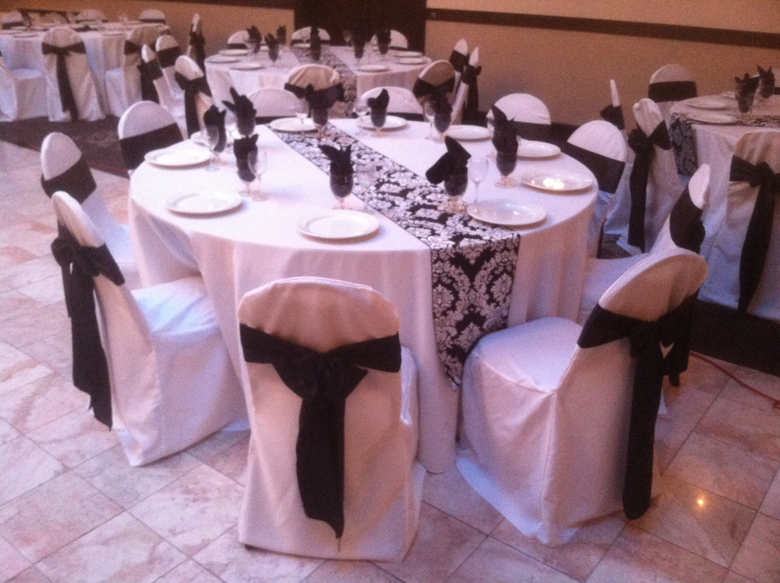 black on white damask runner wedding rental decor crown point northwest indiana linen rental