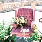 vintage chair with wedding flowers