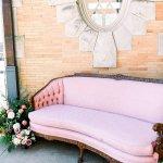 vintage sofa with wedding flowers