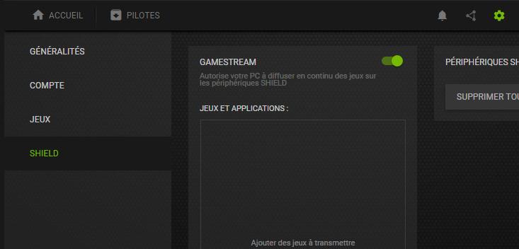 Activation de GameStream