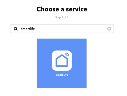 Le service SmartLife dans IFTTT