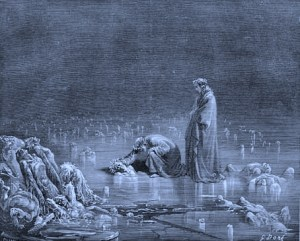 Gustave_Dore_Inferno32 freezing in River Styx by Dore' courtesy Wikipedia Public Domain