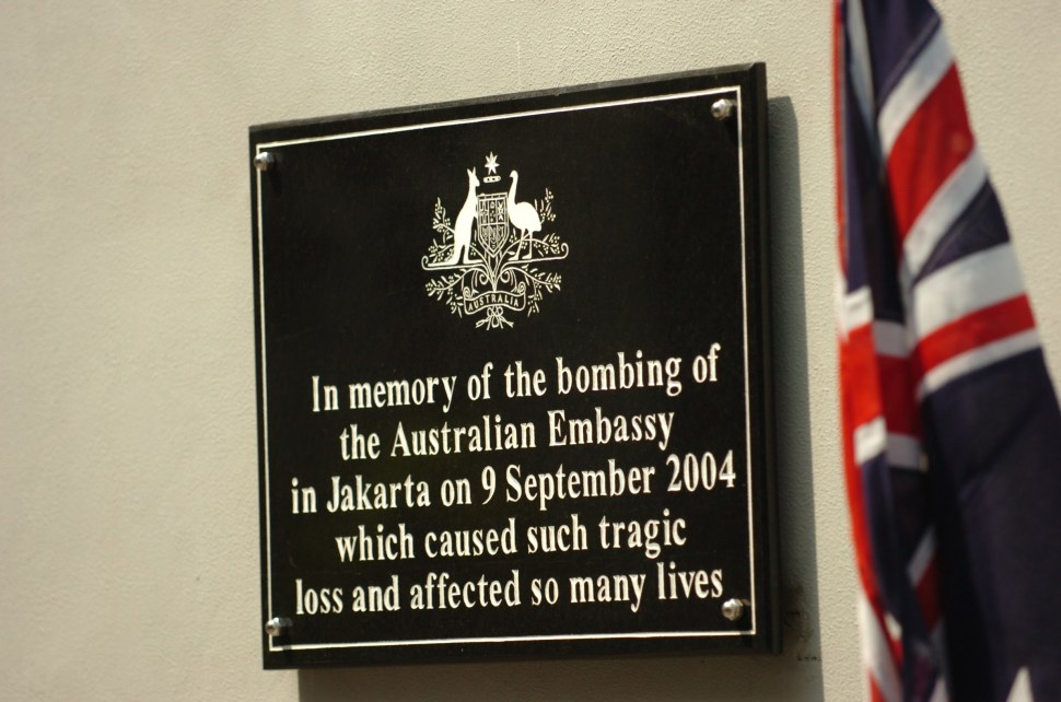 A commemorative plaque at the embassy.