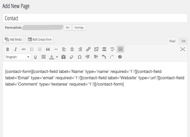 contact form editor pane