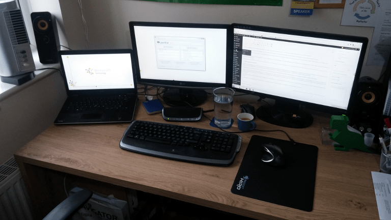 My setup- Filling the desk with monitors!