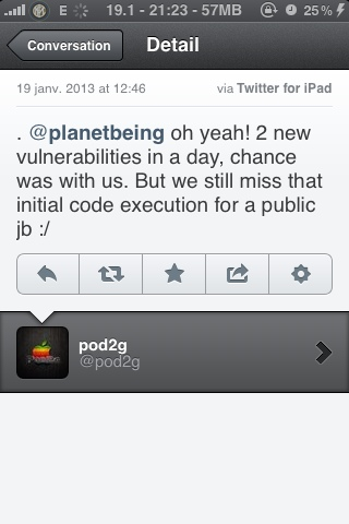 Planetbeing is working with pod2g on the iOs 6 jailbreak (2/2)