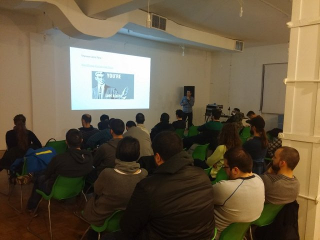 My colleague Stanko speaking at a WP Bulgaria User Group meetup