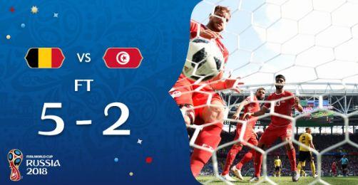 Hasil Belgia  Vs Tunisia Pada laga Kedua Penyisihan Grup G Piala Dunia 2018, Skor 5-2