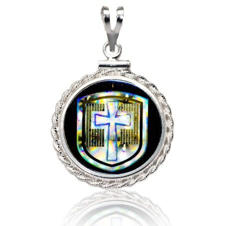 """""""Cross in the Shield"""" NanoBible Diamond Cut Silver Pendant"""