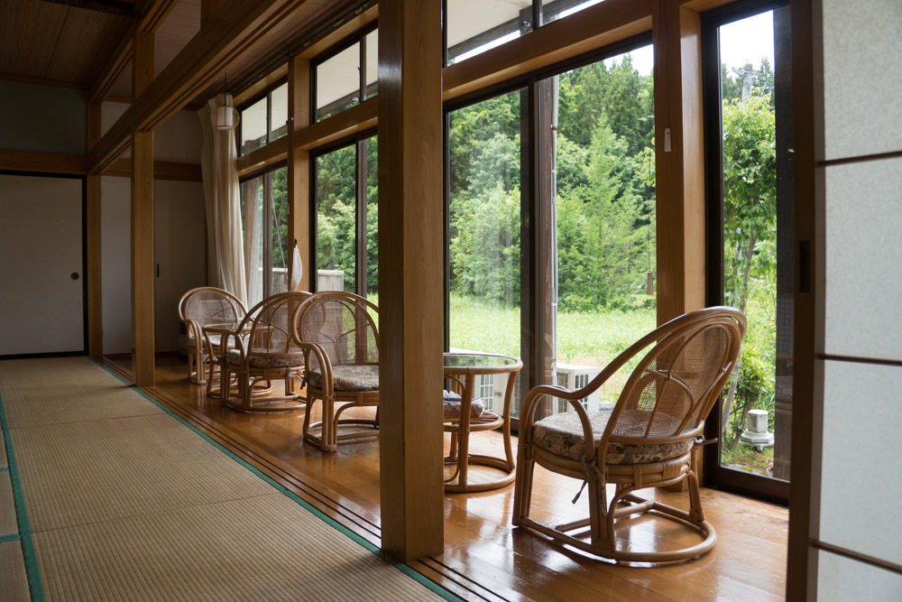 Dewa Sanzan Accommodation: A relaxing view out from Daishinbo Pilgrim Lodge on Mt. Haguro