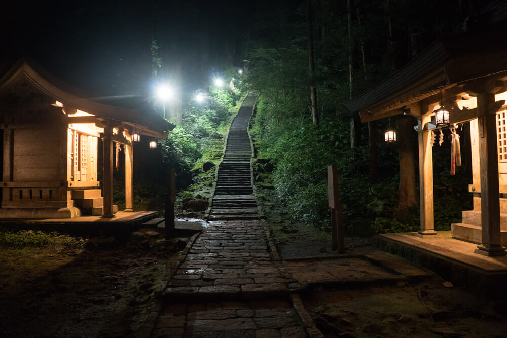 Steps to the Dewa Sanzan Mt. Haguro Five Storied Pagoda Light Up at night