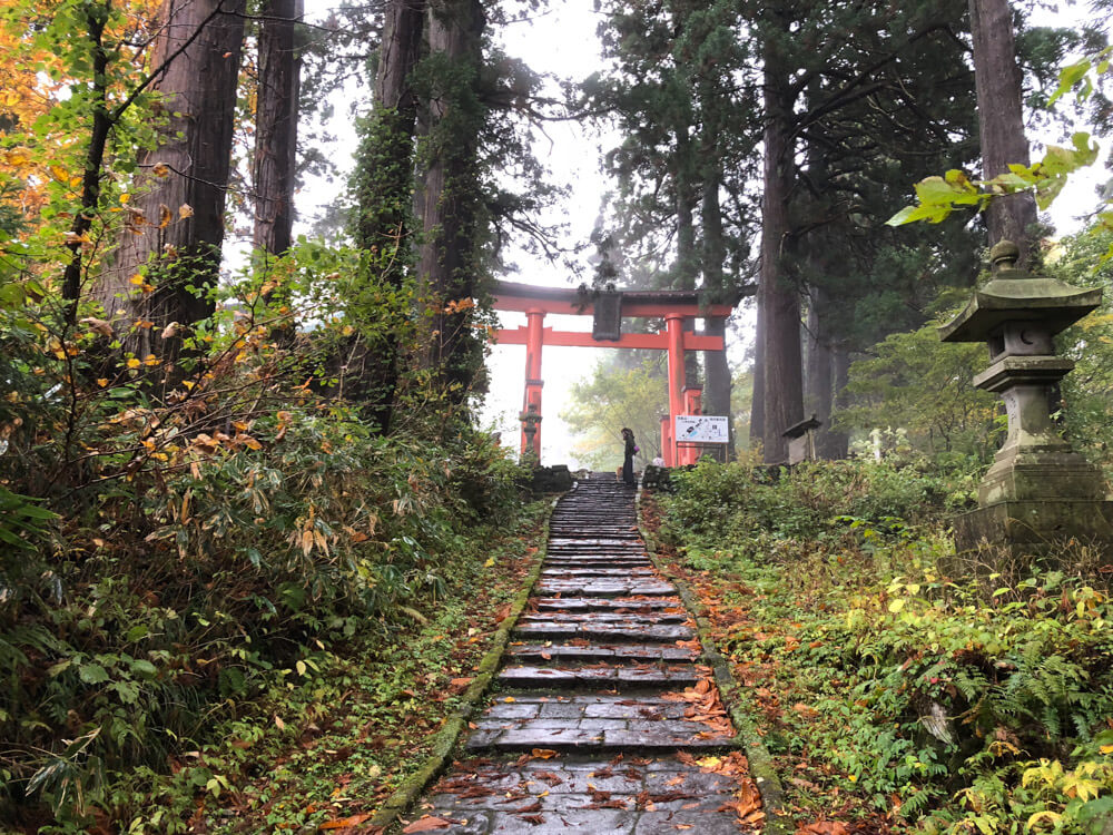 Saikan is located near the top of Mt. Haguro, right before the red Torii gates