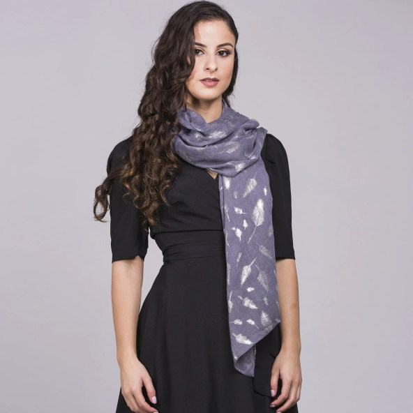 Pure Cotton Scarf with Feathered Design in Grey