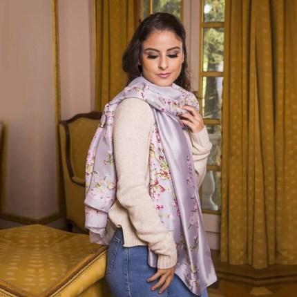 silver silk scarf