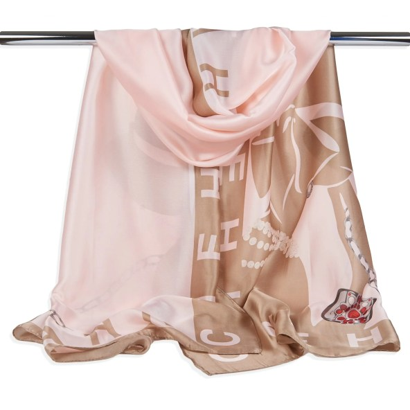 Polyester Scarf Peach/Gold Lettering Edition - Giovanni Style