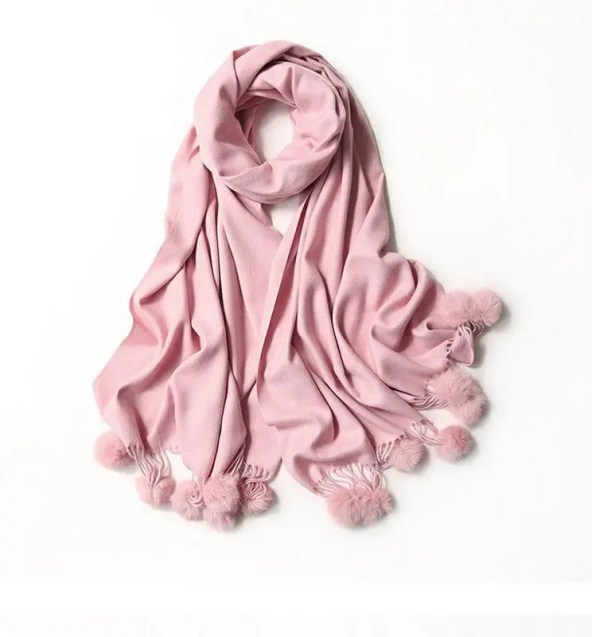 Lightweight Pom Pom Pashmina - Pink