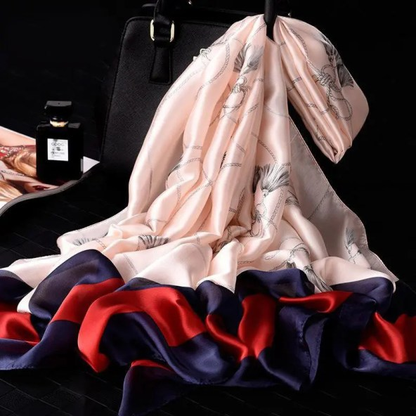 Polyester Scarf Pink Bordered Swirls Edition - Giovanni Style
