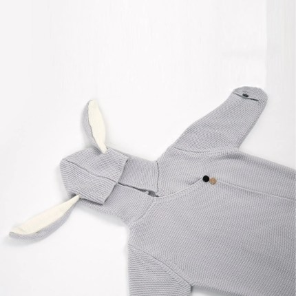 Hooded Bunny Ear Baby Wrap - Grey