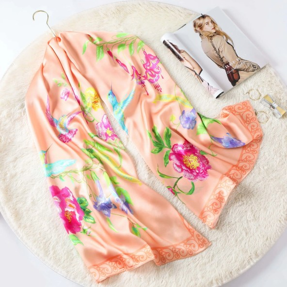 Long Silk Scarf - Amelia Nature Collection - Peach