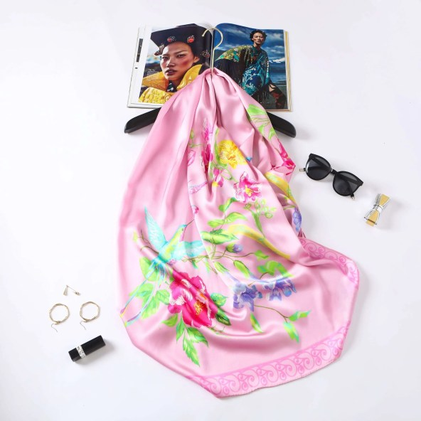 Long Silk Scarf - Amelia Nature Collection - Pink