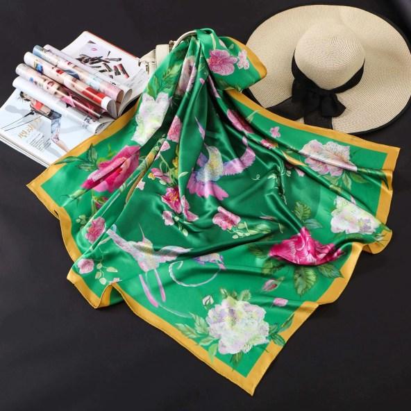 Square Silk Scarf - Amelia Nature Collection - Emerald Green