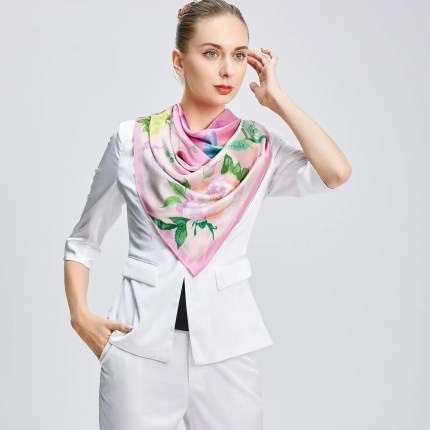 Square Silk Scarf - Amelia Nature Collection – Pink