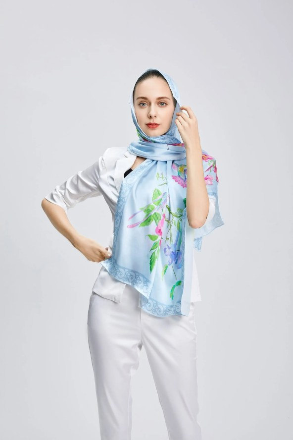Long Silk Scarf - Amelia Nature Collection – Sky Blue
