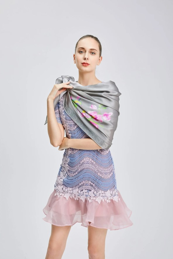 Long Silk Scarf - Amelia Nature Collection – Grey
