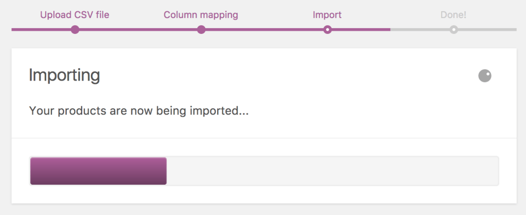 Woocommerce import-export-importprogress