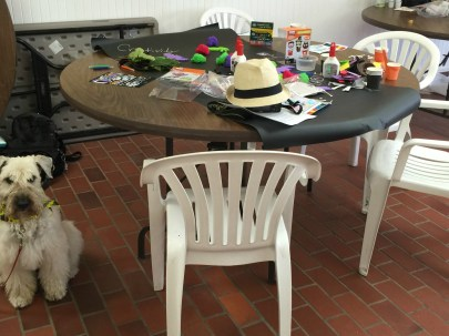 Gracie guarding the Craft Table