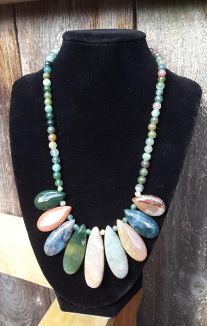 Necklace - multi-color jade drops