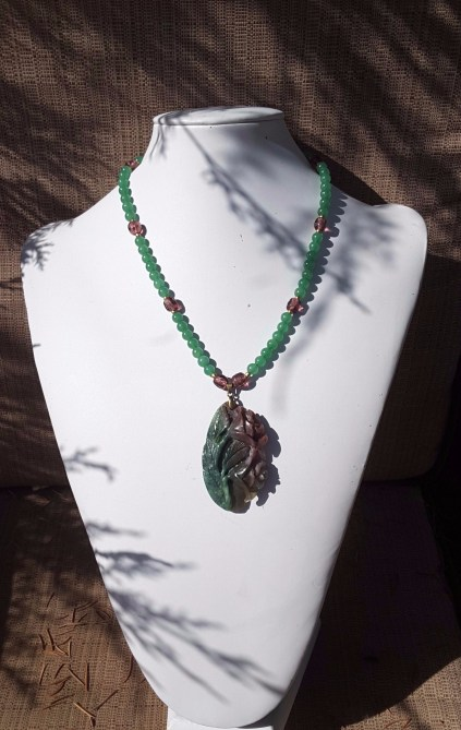 Neclace, jade flower, green & purple 4