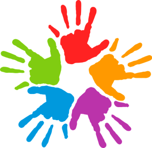 Helping hands representing multi-races