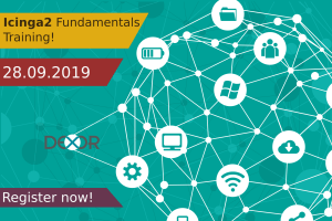 a banner with a connected graph of IoT with an ad of icinga fundamentals training